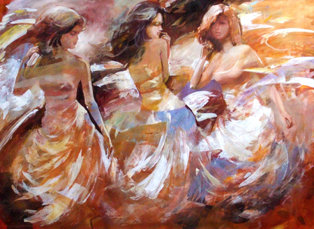 children painting: Female figures handmade oil painting on canvas