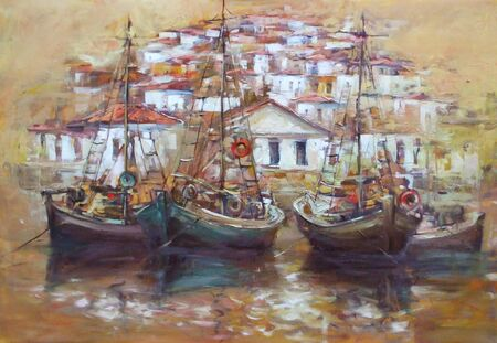 palette knife: Boats on the island harbor,handmade oil painting on canvas