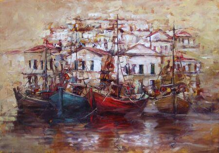 Boote auf dem Inselhafen, handgemachtes Ölgemälde auf Leinwand