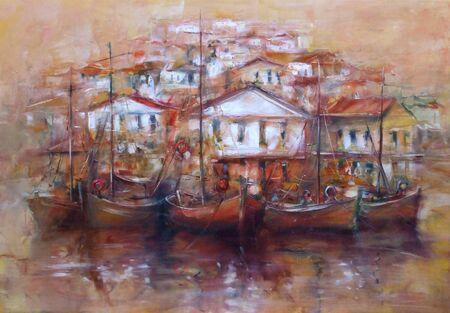 Boten op het eiland haven, handgemaakte olieverf op doek