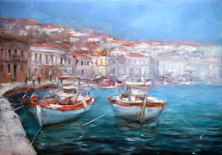 Boats On The Island Harbor,handmade Painting Фото со стока
