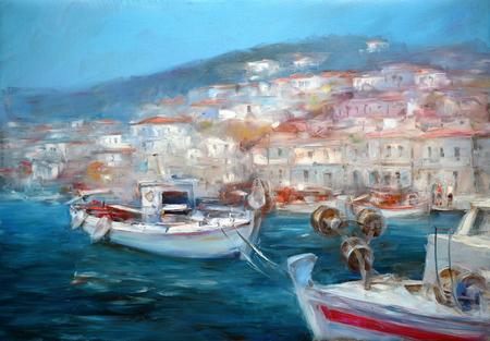 Boats On The Island Harbor,handmade Painting Stock Photo