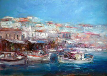 mixed wallpaper: Boats On The Island Harbor,handmade Painting Stock Photo