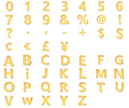 Yellow gold alphabet with numbers, punctuation and symbols Фото со стока