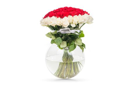 A Bouquet Of Red Roses With A White Edging Of Flowers In A Vase