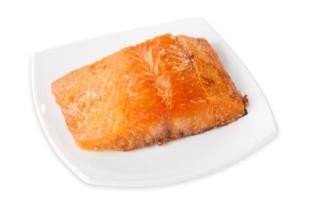 新鮮な生マグロの魚のステーキ.白い背景に隔離され、上から見て、クローズアップ。