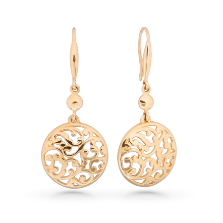 Silver earrings on white background.