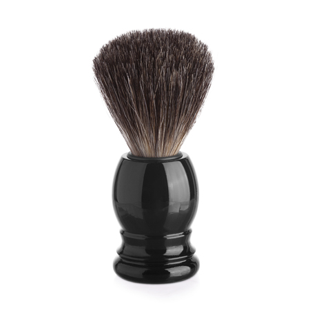 Classic shaving brush with raccoon fur isolated on white. Banco de Imagens