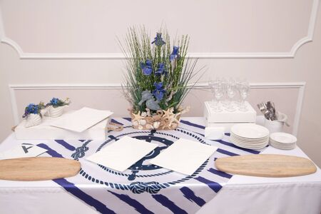The served table with beautiful setting in restaurant