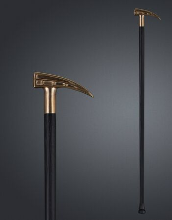 Walking stick and crutches with a handle in the form of hammer. High quality photo