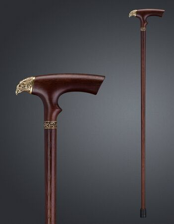 Walking stick and crutches with a handle in the form of falcon. High quality photo 免版税图像