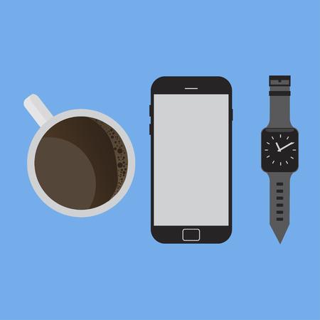 Vector illustration for smartphone coffee flat design