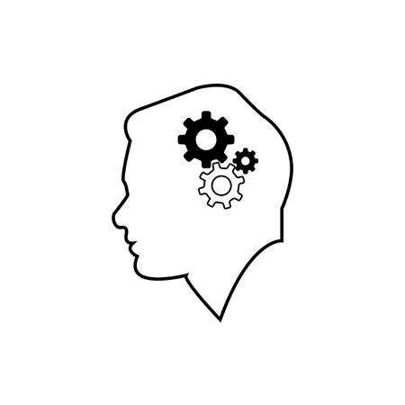 Illustration for mens head with machine device vector