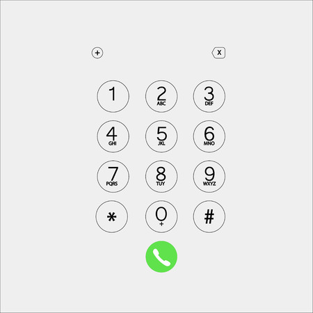 Vektorillustration für Telefonnummern mit grünem Knopf