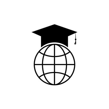 Vector icon graduateind cap institute flat design Illustration