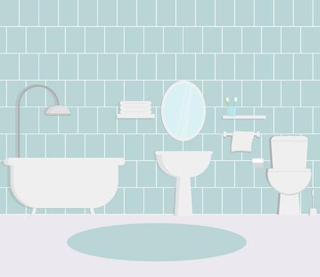 Vector illustratin for bathroom interior flat design apartment architecture. Vecteurs
