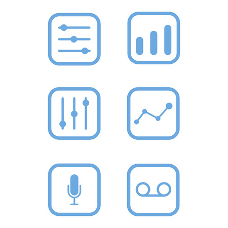 Vector icon equalizer blue lines mixer symbol button Illustration
