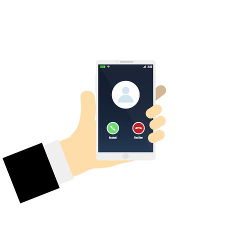 Vector illustration hand with phone calling screen smartphone Ilustración de vector