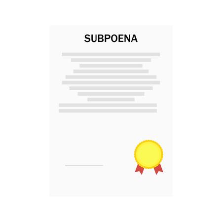 Vector illustration subpoena certificate order gold medal