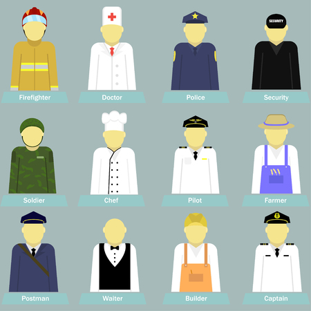 Vector illustration few kind professions different people