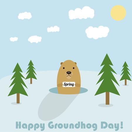 Vector illustration for Groundhog Day celebration spring cute animal