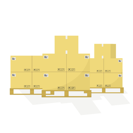 Vector illustration delivery paper boxes on pallettes. Shipping. Flat design. EPS 10.