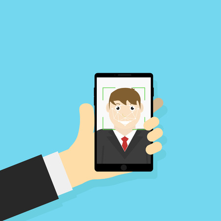 Vector illustration Face identification. Fotography. Selfie. Biometric information. Face scanner. Flat design. EPS 10.