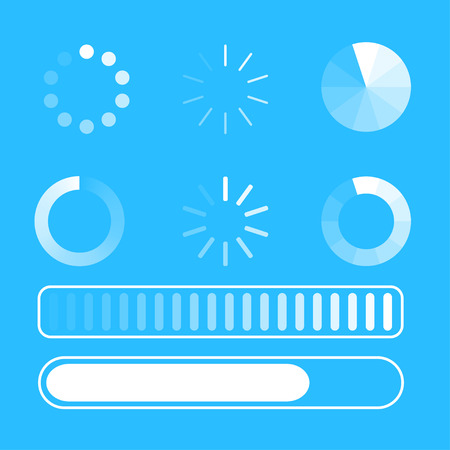 Vector set loading process. Few kind process of loading or download. Blue background. White lines. Circle. Flat design. EPS 10. Ilustração