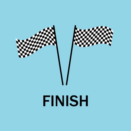 Fin des drapeaux. La fin de course. Fin des compétitions. Sport. Emblème du championnat. Conception plate. EPS 10.