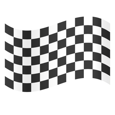 Zakończ flagę. Symbol mistrzostw. Flaga wyścigów. Czarno-biała flaga. Płaska konstrukcja. EPS 10.