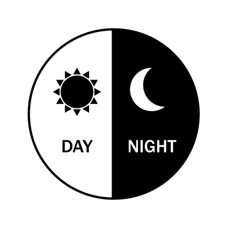 vector icon for day and night. Black and night. Sun and moon. Weather.Flat design, EPS 10.  イラスト・ベクター素材