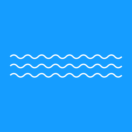 Vector waves simple icon. White lines. Blue background. Aqua minimalism illustration. Water illustration.
