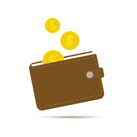Wallet with gold monets. Cash or payment illustration. Internet payment. Internet transaction. Internet paid. Internet wallet. Dollar wallet.