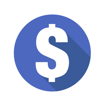 Vector sign of dollar on blue background with shadow business element money sign popular currency payment sign EPS 10 flat design