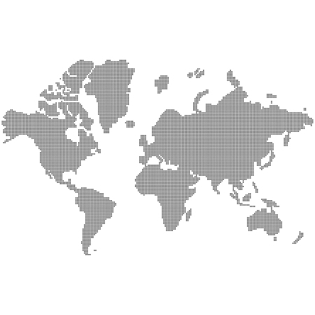 World map made black dots south nourth east west globe of world earth europe america with dots EPS 10 Illustration