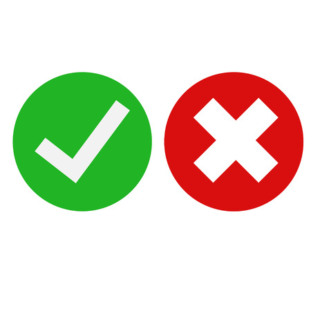 Checkbox icon, isolated, green and red color white background done work or option. Flat design EPS 10