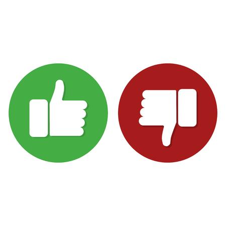 Duim omhoog duim omlaag groene en rode kleur witte achtergrond internet symbool goed of slecht werk. Platte ontwerp EPS10 Vector Illustratie