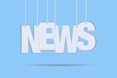 Nouvelles suspendues avec des ficelles sur fond bleu avec des lettres de texte de médias de signe de journal de lettrage blanc d'ombre. EPS 10