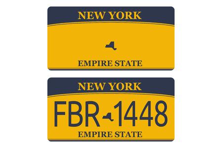 Immatricolazione del veicolo delle targhe di immatricolazione di New York numero auto. Design piatto EPS 10. Vettoriali