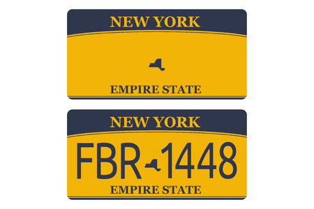 Vechicle registration of New York registration plates nummer car. Flat design EPS 10. Vettoriali