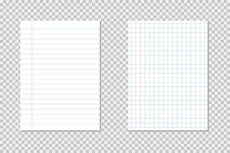 Establezca pedazos de papel vacíos de estilo realista con sombras y líneas de papel, páginas de papel blanco. EPS 10