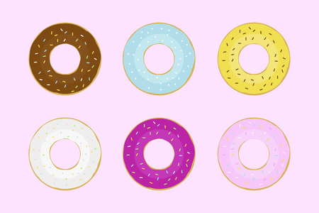 Set few kinds of dount on pink background colorful donuts cute donuts flat design chocolate tasty food. EPS 10 Reklamní fotografie - 119650839
