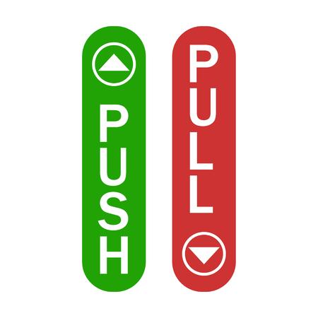 Poussez et tirez le signe vert et rouge avec le signe simple de flèches d'isolement. EPS 10 Vecteurs