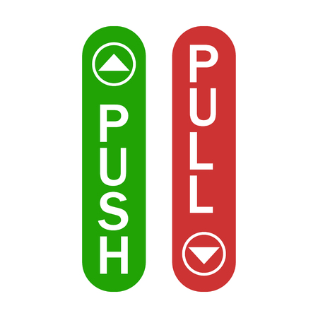 Push and pull sign green and red color with arrows simple sign isolated. EPS 10 Vetores