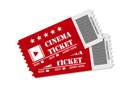 Two red cinema tickets on white background isolated or movie time realistic style.