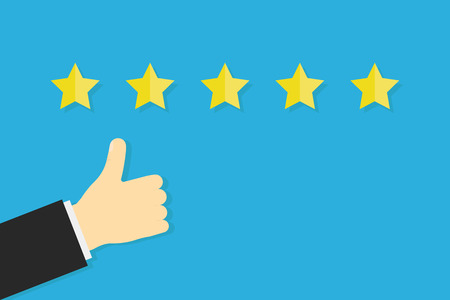 Thumb up five stars sign, service rating success banner in flat design on blue background. EPS 10 Reklamní fotografie - 119650934