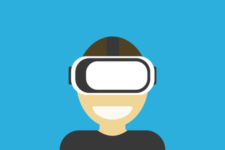Virtual reality glasses on mans head gaming mask on blue background. Flat design EPS 10