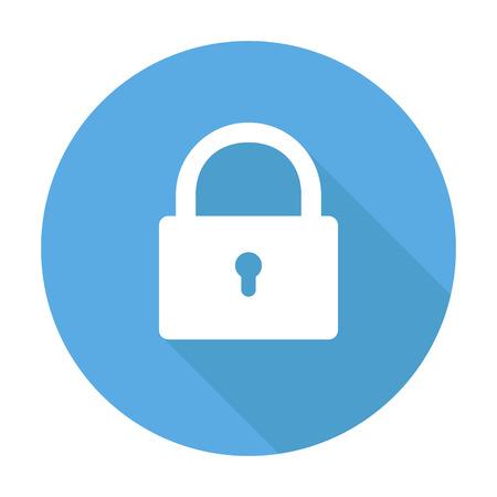 Wit vergrendelingspictogram op blauwe cirkel veiligheidsteken beveiliging vergrendeld knop. EPS 10 Vector Illustratie