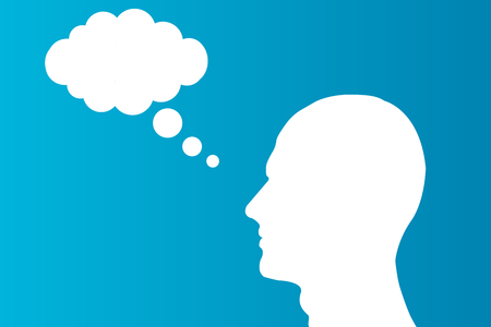 Head with a cloud thinking on blue background brain simple illustration. EPS 10 Illustration