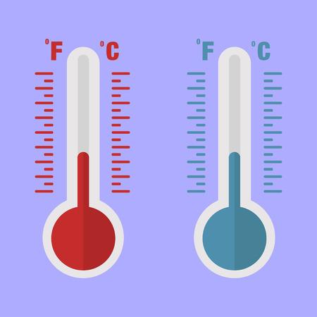 Thermometers in vlakke stijl rode en blauwe eenvoudige lijnen op blauwe achtergrond. EPS 10